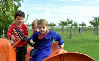Kinderen op de tractor tijdens Aardappeloogstdag